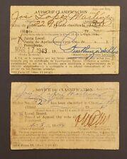 VINTAGE SELECTIVE SERVICE CARD (2) / PUERTO RICO 1943 + 1944