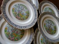 6  Vintage ROYAL ALBERT CROWN CHINA ENGLAND SILVER BIRCH DINNER PLATES PLATE