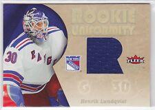 2005 05-06 Ultra Rookie Uniformity Jerseys #RUHL Henrik Lundqvist RC-year Ranger