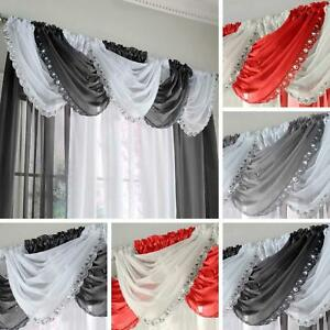 Jewelled Voile Swags Crystal Bling Gem Trim Sparkle Valance Pelmet Curtains
