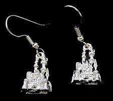 Castle  Charm  Earrings /   3/D  Design / Surgical Steel Ear Wires