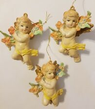 Lot of 3 Vintage Floral Painted Plaster Cherub Angel Craft Christmas Ornaments