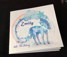 Personalised Handmade Birthday Card, Unicorn Glittered Name, Etc, Age, Relation