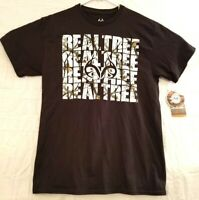 Realtree Mens Size M Active Outdoors Hunting Black Short Sleeve Graphic T Shirt