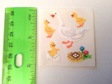 Sandylion Vintage Fuzzy Goose And Baby Geese Stickers 1 Square RETIRED