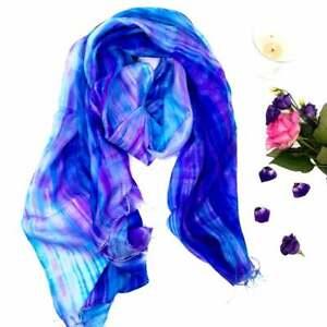 100% Pure Silk Scarf Hand Painted Purple Blue Silk Scarf
