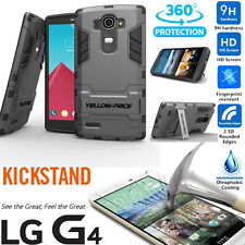 Built-In Hybrid Anti-shock Armor Case Stand Cover+Tempered Glass Film For LG G4