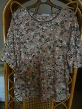 Per Una At Marks & Spencer Peach Floral Stretch Jersey Blouse/Tunic/Top  Size 14