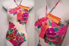 NOS Vtg Deadstock 70s 80s Swimsuit Bandeau Straps Pink Purple Aqua Flowers XS S