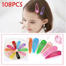AU 108pcs Wholesale Bulk Girls Baby Kids Hair Clips Snap Slides Close Hairpin W