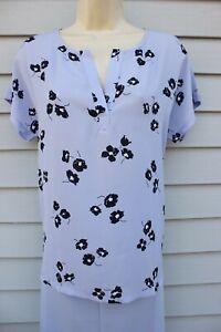 NWT Ann Taylor Blue Print Short Sleeve Mixed Media Blouse S