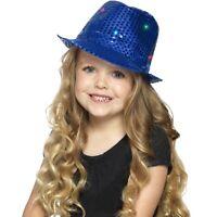 Boy's Blue Light Up Sequin Trilby Fancy Dress Hats Childs Parties Dance Shows