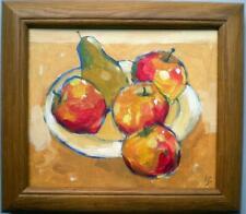 "Pear & Apples  FRAMED IMPRESSIONIST COLOURIST  PAINTING BY JOHN GARBETT 9"" X 10"""