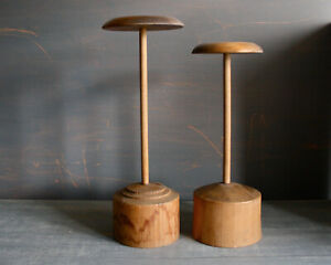 Vintage wooden wig or hat stands. Shop display. Milliner, Hat maker wood block