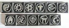 RELIGIOUS LEATHER STAMPS OF THE WORLD, Cross, Star of David, Moslem, Yin Yang