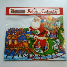 "NEW 28"" Vintage ENGLAND Santa Claus Sleigh With Reindeer Advent Calendar"
