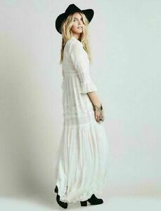 Free Bohemia Embroidery Cotton Blend Full-Length Skirt Dress Gown Fashion