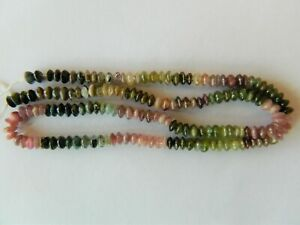 Tourmaline, Beautiful 5mm x 3mm Approx, Smooth Rondelles, 38cm Strand