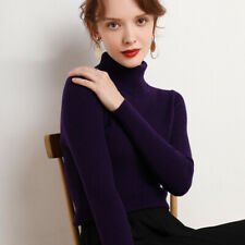 Womens Cashmere Sweater Turtleneck Knitting Jumper Leisure Slim Fit Pullover New