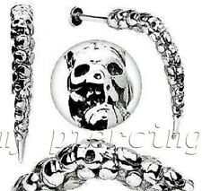 """14G 3/8"""" Artistic Skull Carved Long Claw Spike Labret 316L Surgical Steel"""