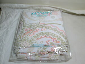 "New Kassatex Fine Linens Shower Curtain 72""x72"" Paisley Coral/Linen (Taupe)"