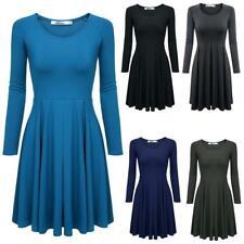 Meaneor Frauen Casual Langarm hohe Taille feste Stretch Plissee Kleid JDDE 02