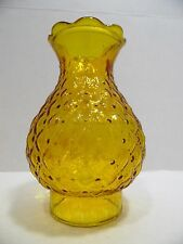 "Vintage Glass Globe Hurricane Lamp Shade Gold Diamond Quilt Pattern 3"" Fitter"