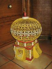 VINTAGE ORIGINAL ANTIQUE WOOD, METAL and WIRE VICTORIAN BALLOON TOP BIRD CAGE