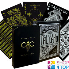 2 DECKS BICYCLE ELLUSIONIST 1 KILLER BEES AND 1 TALLY HO VIPER FAN BLACK CARDS