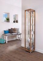 Unno Oak Effect 1 Door Glass Display Cabinet Oak Single Display Unit