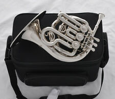 Top Silver Nickel Piccolo Mini French Horn Engraving Bell Bb Keys With Case