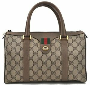 Authentic GUCCI Web Sherry Line Hand Boston Bag GG PVC Leather Brown E0049