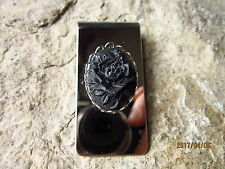 BLACK ROSE CAMEO STAINLESS STEEL MONEY CLIP- FATHER'S DAY GIFT - GOTH