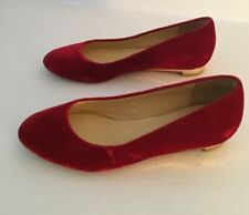 Cole Haan Size 6B  Flats Red Velvet with Gold