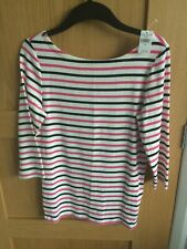 Women's Gap white, dark blue and pink striped 3/4 sleeved top size M NWT
