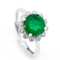 2 CT Women's Emerald Rings Round Faceted Cut Sunflower May Birthstone Jewelry