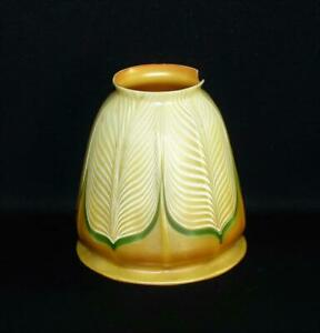 AMERICAN ART GLASS LAMP SHADE SIGNED QUEZAL w/ FITTER CHIP