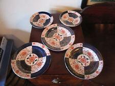 Antique Empire Porcelain Co. 5 Pieces 3 Plates 2 Saucers w/ Imari Decoration