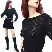 RARE Vintage 70s Goth Witch Dress Black Sheer mini Knit Boho 80s OSFM
