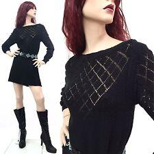 Vintage 70s Goth Witch Dress Black Sheer mini Knit Boho 80s OSFM