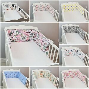 COT BUMPER padded filled straight for cot / cot bed FLOWERS CARS FOREST CHEVRON