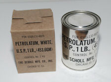 VINTAGE FULL TIN WHITE PETROLATUM JELLY 1LB MILITARY KOREA VIETNAM CIVIL DEFENSE