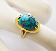 Damenring Damen Ring 14 Karat 585 Gold Gelbgold Türkis 6,68 g Gr. 54