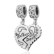 MOTHER DAUGHTER Charm Bead Dangle 925 Sterling Silver
