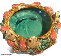 Vintage Majolica Pottery Frog Dish Bowl or Planter - Green Glazed with Marks