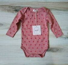 Oeuf Organic Pima Cotton Long Sleeve Cherry Bodysuit Baby 3-6 Months Girl Pink