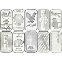 Mixed Designs 1oz .999 Silver Bars by SilverTowne 10 Piece Lot