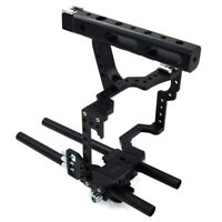 New DSLR Rod Rig Camera Video Cage Kit & Handle Grip for Canon EOS M5 M3