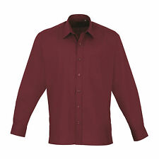 Premier Easycare Poplin Shirt Mens Long Sleeved Polycotton Formal Collar Pr200 Aubergine 15.5