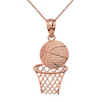 Solid 14k Rose Gold Textured Basketball Hoop Sports Pendant Necklace